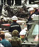 The remains of the car in which the bomb had been transported