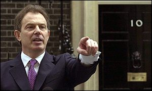Tony Blair pointing: We're targetting YOU next!