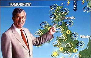 Bill Giles and TV weather map