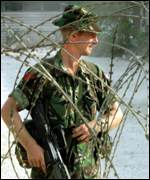 British soldier on guard near Skopje airport