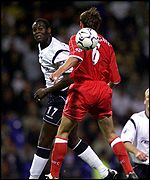 Bolton's Martin Ricketts outjumps Middlesbrough's Gareth Southgate