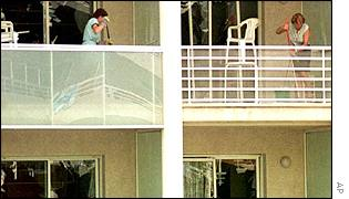 Clearing up at a hotel after the Salou bomb
