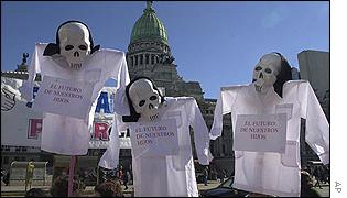 Skeletons outside Congress in Buenos Aires