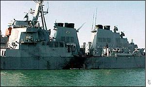 USS Cole after the bombing last October