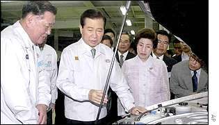 South Korean President Kim Dae-jung, centre, inspects a Kia Motors car assembly line in Kwangmyong
