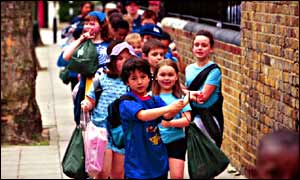 Children walking outside school with gym bags