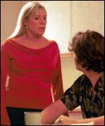 Sharon and Ross in a scene from Eastenders