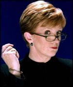 Anne Robinson in Weakest Link presenter pose