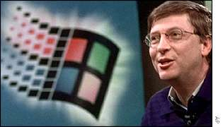 Bill Gates by Windows logo