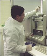 DNA testing in a laboratory