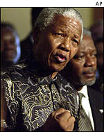 Nelson Mandela makes a point after a UN Security Council meeting