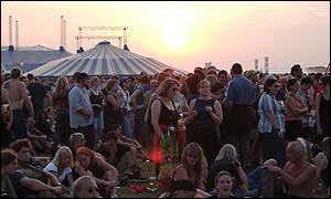 Sunset over the festival