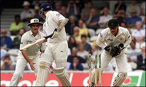 Despair for Darren Gough as he is stumped by Australia's Adam Gilchrist