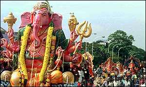 Ganesh idol and procession
