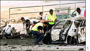 Spanish authorities examine a car that was bombed at the coastal resort town of Salou on 18 August