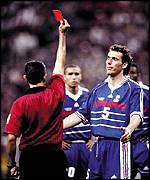 Blanc sees red in the World Cup semi in 1998