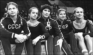 Olga (second right) and the USSR team in 1975