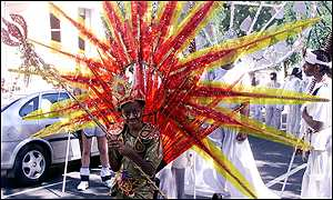 costumed Notting Hill carnival participant