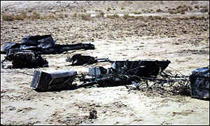 Iraqi TV pictures of wreckage of what it said was a spy plane