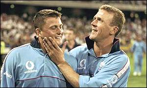 Darren Gough and Alec Stewart