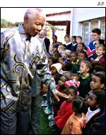 Nelson Mandela and S African children