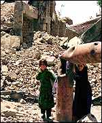 Children among the ruins of Kabul