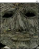 A huge wooden head at the Burning Man festival