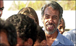Xanana Gusmao queues outside polling station