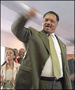 The Reverend Jesse Jackson at a rally in Durban