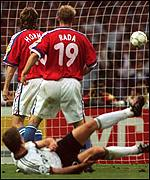 Oliver Bierhoff scored Germany's golden goal against the Czech Republic in the Euro 1996 final