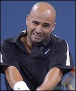 Andre Agassi struggled into the third round