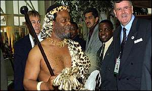 Zulu king Goodwill Zwelithini arrives for opening of the World Conference Against Racism in Durban