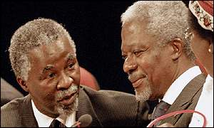 South African President Thabo Mbeki chats with UN Secretary General Kofi Annan ahead of the opening