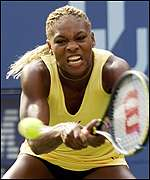 Serena Williams in action in the third round of the US Open