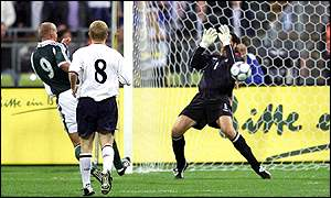 Germany's Carsten Jancker beats David Seaman to put Germany 1-0 up