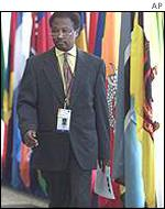 A delegate with flags at the UN conference
