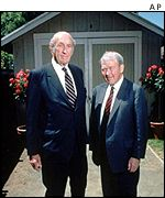 David Packard and Bill Hewlett posing in front of the famous garage