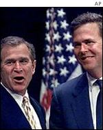 President George W Bush and Florida Governor Jeb Bush