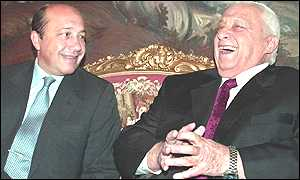 Russian Foreign Minister Igor Ivanov and Ariel Sharon