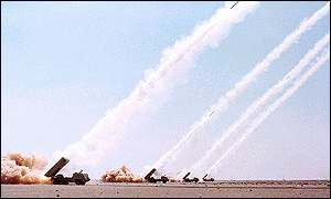Astro II rocket launchers in action during the Gulf War