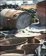 Barrels lying dormant outside a factory
