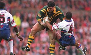 Mal Meninga takes on England in the second Test in 1994