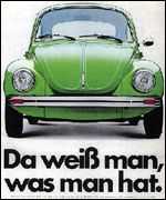 An old VW Beetle advertisement