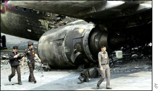 Exploded Thai Airways airliner