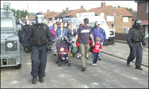 The police acted as a buffer zone for the children