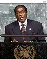 President Robert Mugabe speaks at the UN