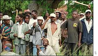 So-called war veterans occupy a farm in Zimbabwe
