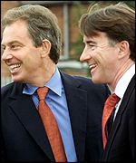 Tony Blair and Peter Mandelson on Friday
