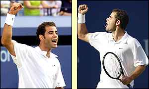 Pete Sampras celebrates a convincing win