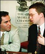Garry Kasparov (left) and Nigel Short
